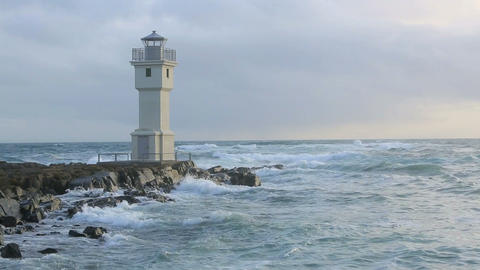 Lighthouse at the port of Akranes, Iceland Footage