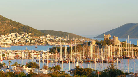 bodrum yacht marina, holiday destination in turkey Footage