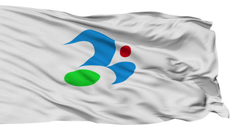 Isolated Tsukubamirai city flag, prefecture Ibaraki, Japan Animation