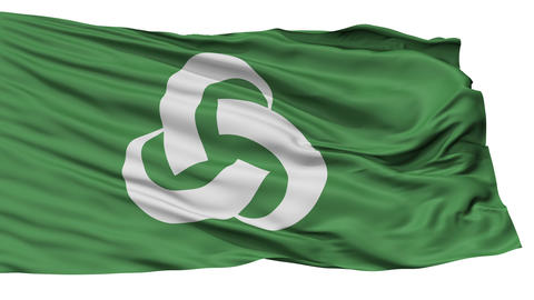 Isolated Tsukumi city flag, prefecture Oita, Japan Animation