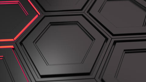 Wall of black hexagons with red glow GIF