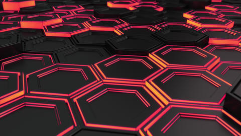 Wall of black hexagons with red glow Animation