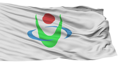 Isolated Uwajima city flag, prefecture Ehime, Japan Animation