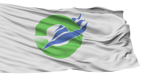 Isolated Wajima city flag, prefecture Ishikawa, Japan Animation