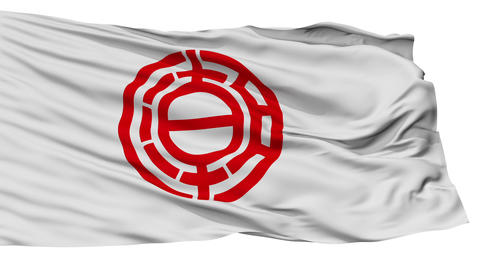 Isolated Yashio city flag, prefecture Saitama, Japan Animation