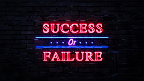 Success or Failure Neon Sign Footage