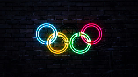 The Olympics Logo as Retro Neon Sign Light GIF