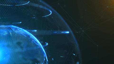 4K loopable 3d animation of a spinning globe with a growing global network Animation