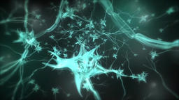 Journey through a neuron cell network inside the brain. Techno Blue. Loopable Footage