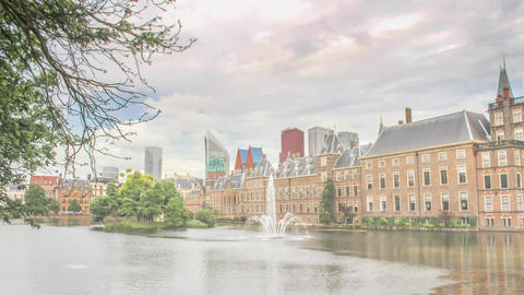 The Hague, Netherlands- Financial District and Binnenhof Skyline Hyperlapse GIF