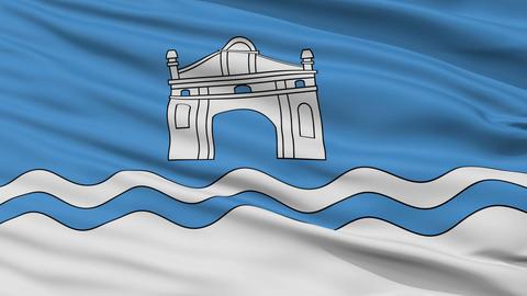 Closeup Biaroza Kartuskaja city flag, Belarus Animation