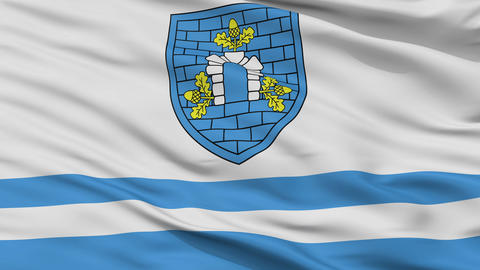 Closeup Dubrouna city flag, Belarus Animation