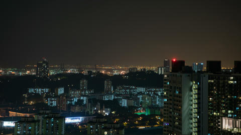 Urban downtown city at night, time lapse 영상물