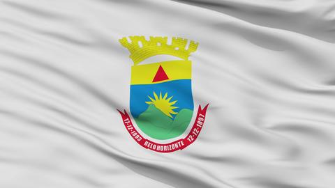Closeup Belo Horizonte city flag, Brasil Animation