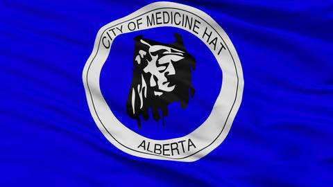 Closeup Medicine Hat Alberta city flag, Canada Animation