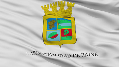 Closeup Paine city flag, Chile Animation