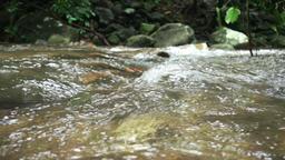 Water flowing in streams slow motion Footage
