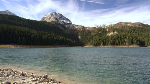 Beautiful mystical lake. Black Lake, Durmitor National Park Footage
