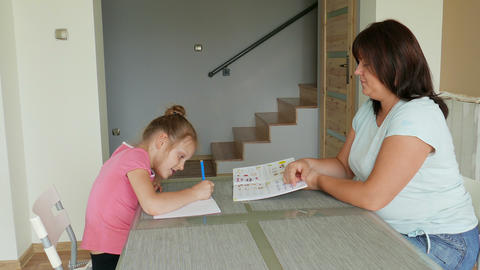 Mother Is Homeschooling Her Daughter 02 GIF