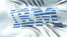 IBM flag waving on sun. Seamless loop with highly detailed fabric texture. Loop Animation