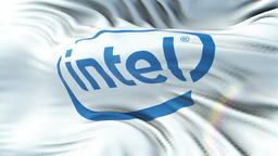 INTEL flag waving on sun. Seamless loop with highly detailed fabric texture Animation