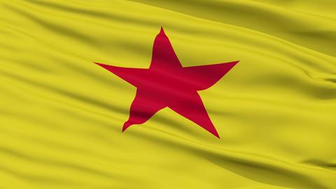 Closeup Moheli city flag, Comoros Animation