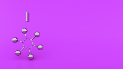 Abstract ball rotate with rect springs purple Animation