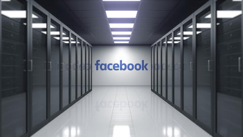 Facebook logo on the wall of the server room. Editorial 3D animation Live Action