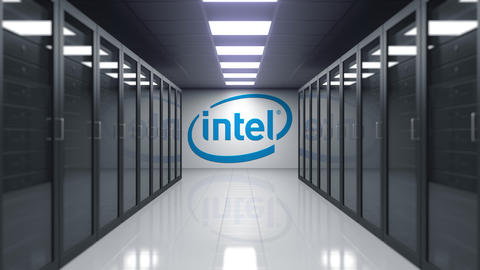 Intel Corporation logo on the wall of the server room. Editorial 3D animation Live Action