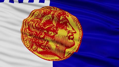 Closeup Thessaloniki city flag, Greece Animation