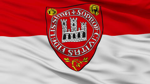 Closeup HUN Sopron city flag, Hungary Animation