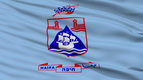 Closeup Haifa city flag, Israel Animation