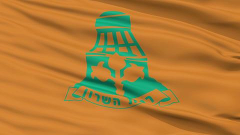 Closeup Ramat HaSharon city flag, Israel Animation