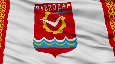 Closeup Pavlodar city flag, Kazakhstan Animation