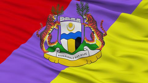 Closeup Ipoh Perak city flag, Malaysia Animation