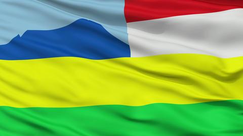 Closeup Kota Kinabalu city flag, Malaysia Animation