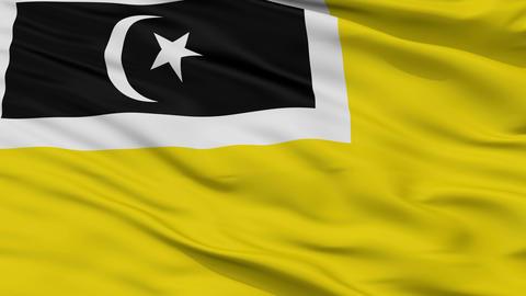 Closeup Kuala Terengganu city flag, Malaysia Animation
