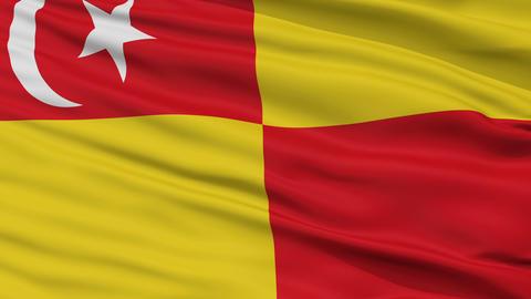 Closeup Selangor city flag, Malaysia Animation