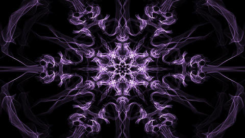 Live purple hexagonal fractal mandala, video tunnel on black background 애니메이션