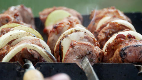 Barbecue delicious meat bbq 4k Stock Video Footage