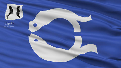 Closeup Capelle aan den IJssel city flag, Netherlands Animation