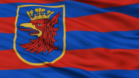 Closeup Szczecin city flag, Poland Animation