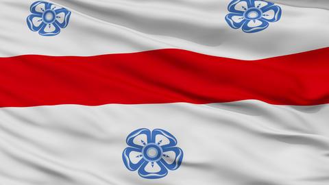 Closeup Miercurea Ciuc city flag, Romania Animation
