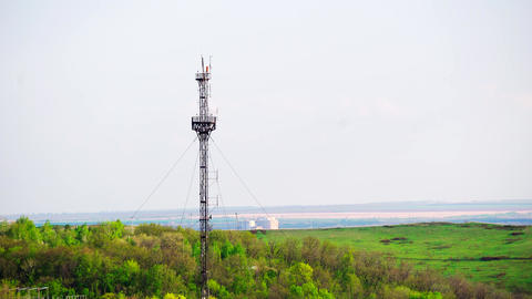 communication tower, mobile signal, internet and TV broadcasting Footage