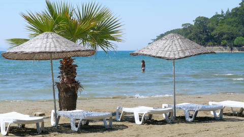 Akyaka, Turkey, beach, sunbed, Daily life Summer Travel Destination Footage
