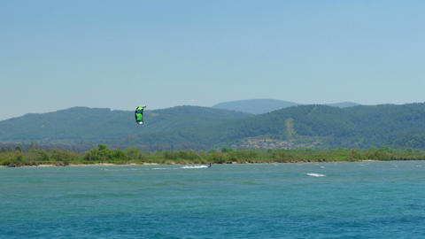 Akyaka, Turkey, Kitesurfer Kite Surfing at sea Footage