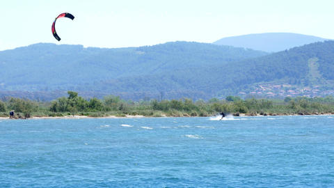 Akyaka, Turkey, Kitesurfer Kite Surfing at sea Footage