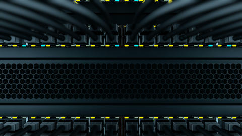 Switches with the UTP patch-cords in a server rack Animation