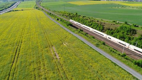 German ICE highspeed train - aerial view 영상물