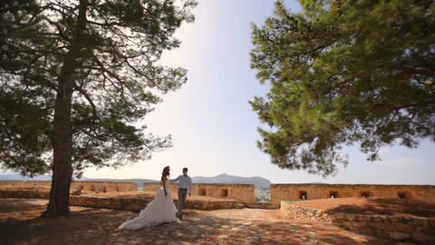 Wedding photosession of the newlyweds in Greece Footage